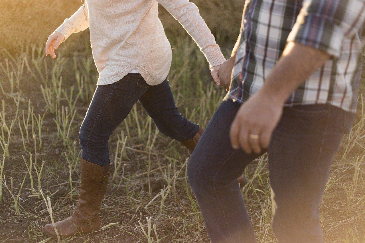 adult, couple, walking
